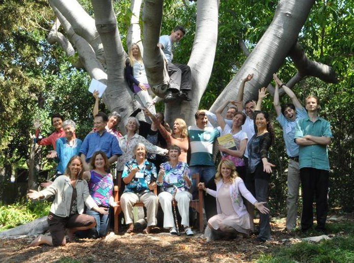 Group photo at and in the tree